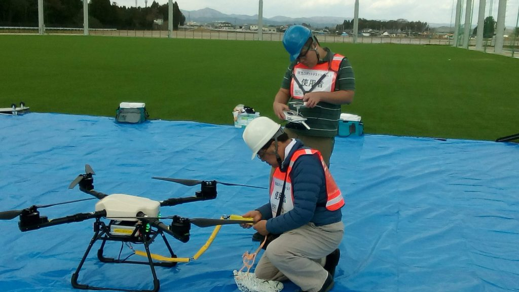 Blood Pack Drop Experiment Using UAV (Drone) (Tokyo Metropolitan Bokutoh Hospital and Faculty of Medicine, Toho University);